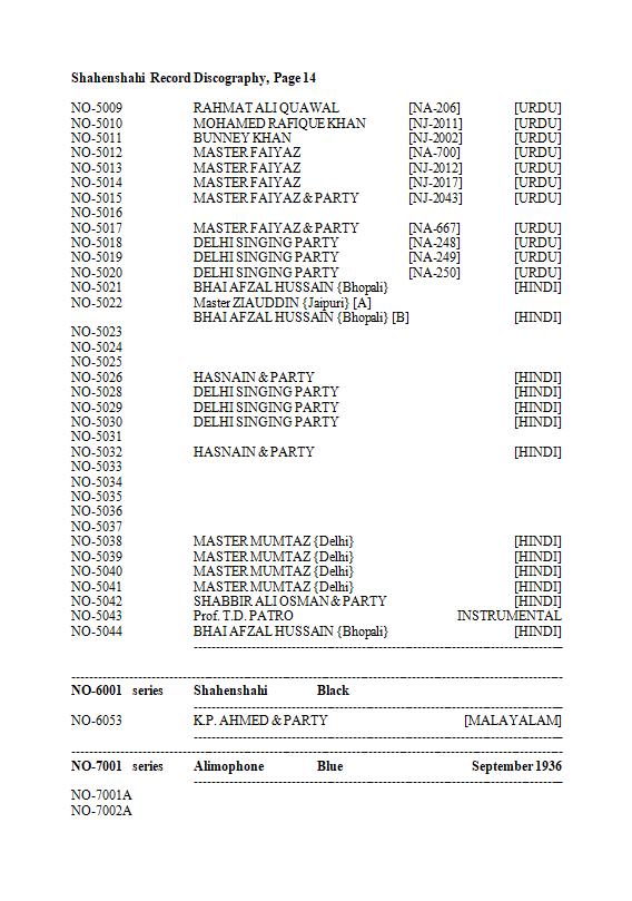 Shahenshahi Record Discography, Page 14