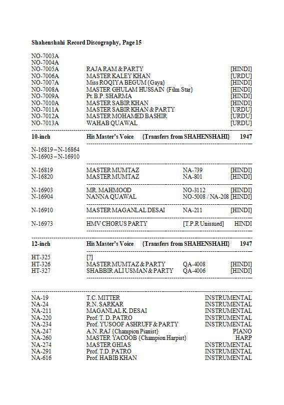 Shahenshahi Record Discography, Page 15