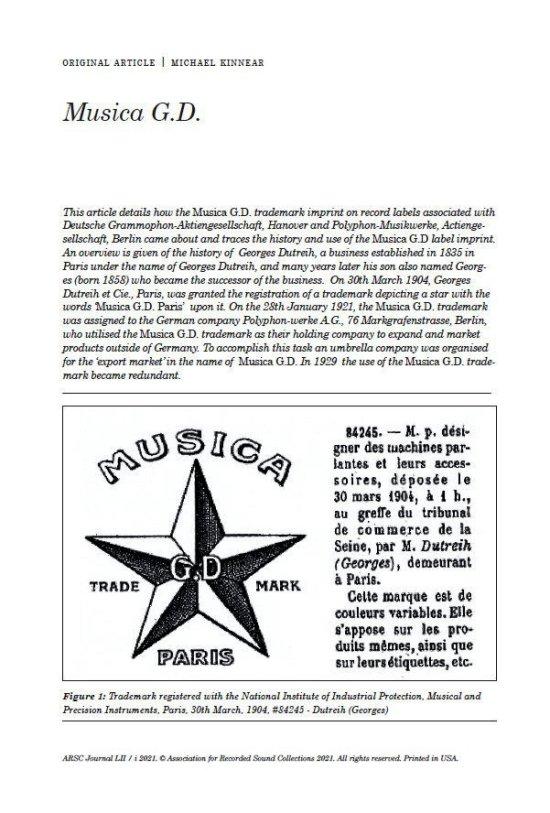 ARSC Journal, Musica G.D. Article by Michael Kinnear