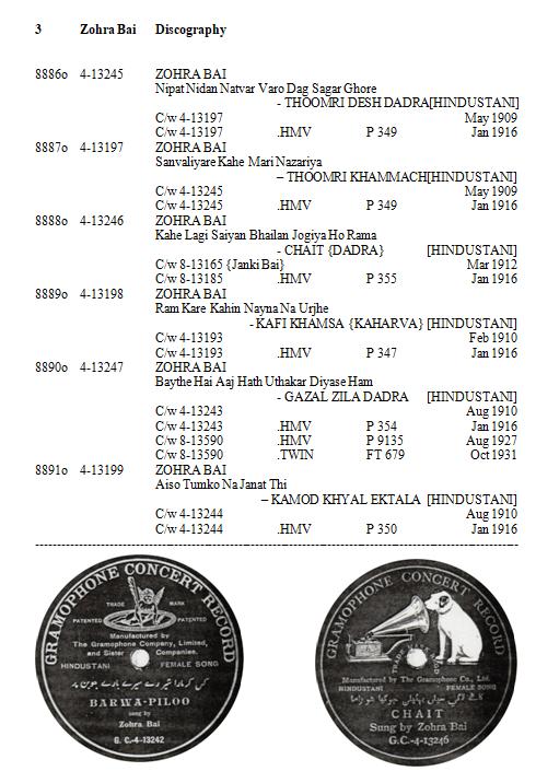 Zohra Bai Discography, Page 3
