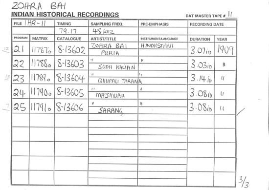 Zohra Bai - Indian Historical Recordings Sheet