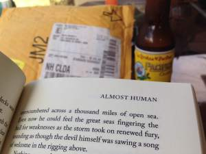 My friend, Jason, sent the perfect photo of how I read! Pacifico is a great