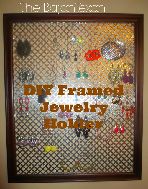 DIY Framed Jewelry Holder - This jewelry organization project is the simplest thing to do ever! Check out how to make your own: