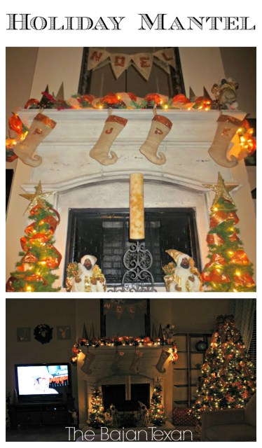 DIY Holiday Mantel - There are lots of little projects that came together for this mantle: deco mesh garland, elf stockings, burlap NOEL banner, & more!