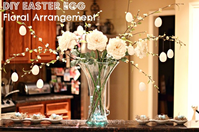 Easter Egg Floral Arrangement - This gorgeous DIY Easter decor is super easy and fun make! Make it in minutes! It also won't cost you a lot!