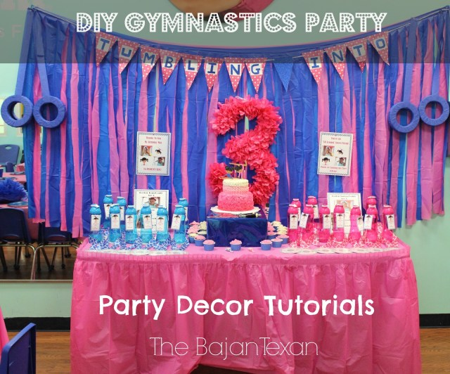 DIY Party Favors: CD Medals and Water Bottles - This party is gymnastics themed - everything from the backdrop to the party tags have a nice sporty vibe!