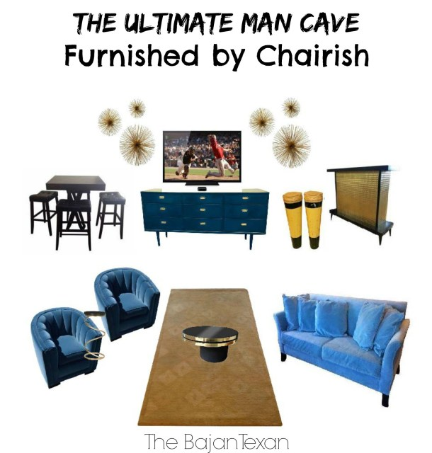 e Ultimate Man Cave furnished by Chairish - Check out the awesome style board I built for a home bar!