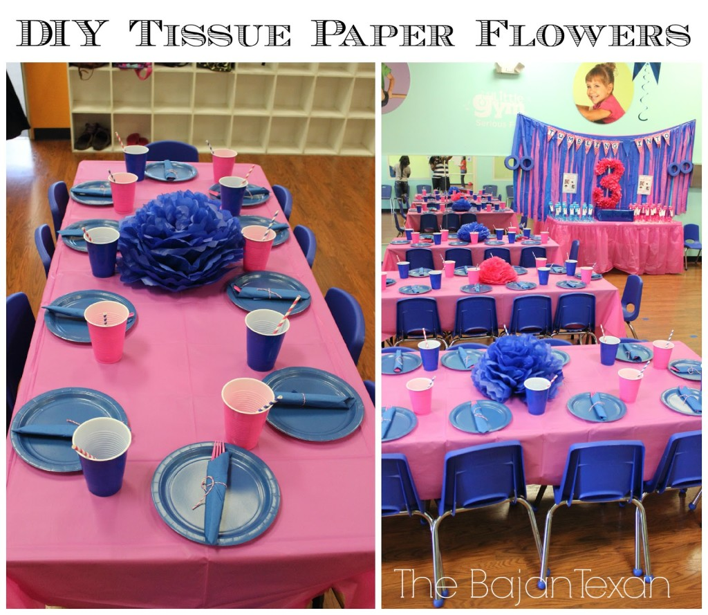 Diy tissue paper flower party decor video tutorial the bajan texan tissue paper flowers are one of those crafts that add big impact and are so cheap to make all you need is tissue paper and ribbon or floral wire mightylinksfo