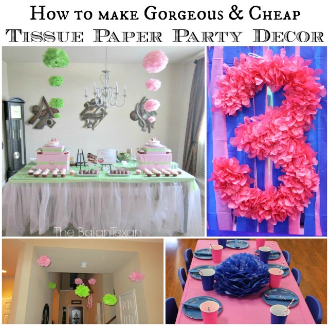Diy tissue paper flower party decor video tutorial the bajan texan hanging ombre diy tissue paper flower video tutorial make your party more fun exciting mightylinksfo