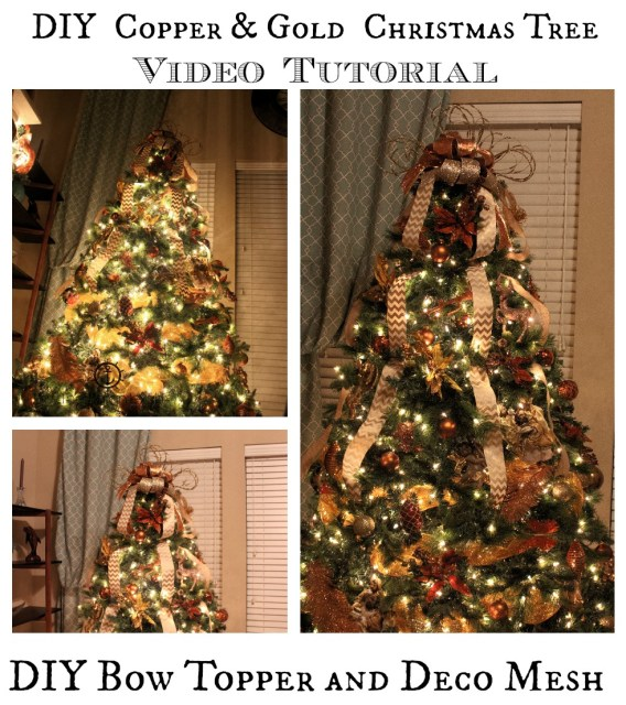 Decorate Christmas Tree Video Tutorial with Bow Topper and Deco Mesh - DIY Copper & Gold Holiday Tree