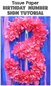 diy tissue paper number sign