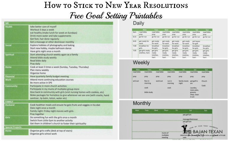 new year resolution free printables