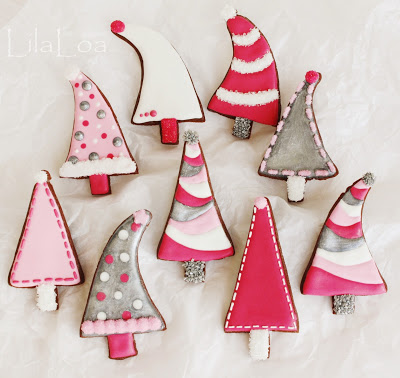 pink christmas tree cookies