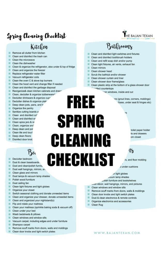 free spring cleaning checklist