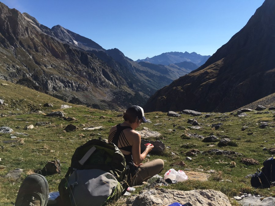 a female hiker taking a break