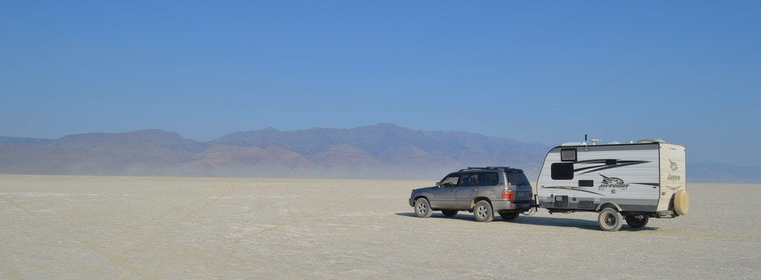 a Jayco travel trailer in the Alvord Desert