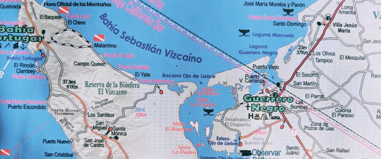 Mapa del área de Guerrero Negro, Baja California Sur