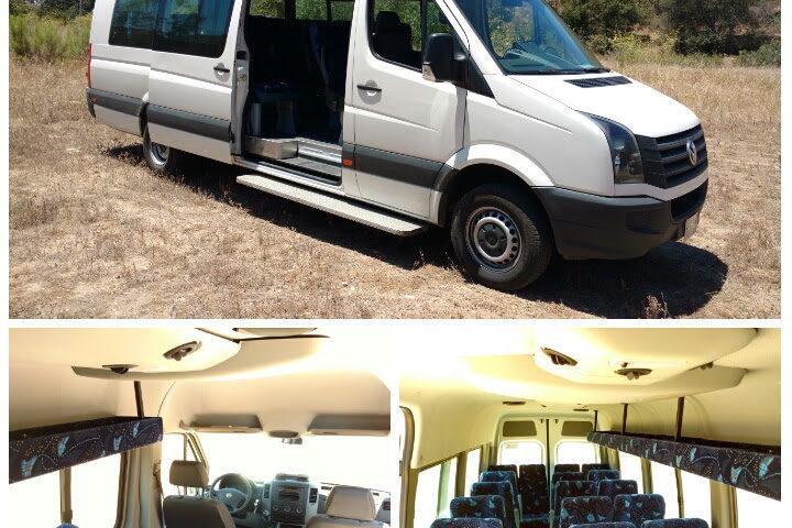 Transporte Van Crafter o Sprinter 19 pasajeros, exterior e interior. Traslados en Baja California, Mexico.