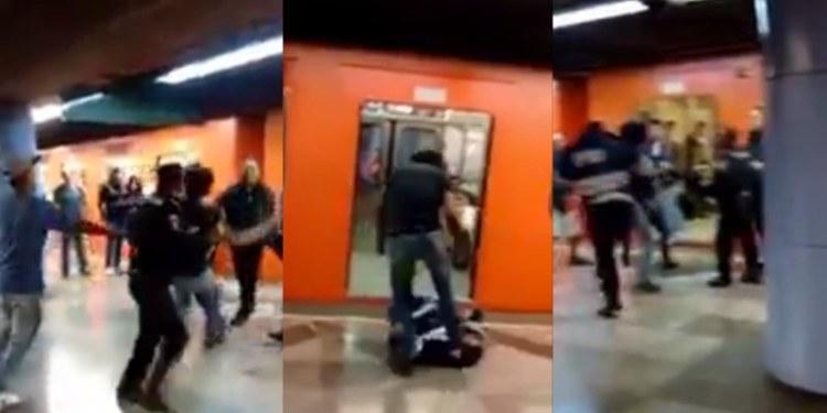 Civiles y policías se agarran a puñetazos en estación del Metro 1