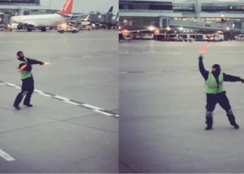 Mira cómo baila este empleado en pista del aeropuerto de Toronto| VIDEO 2