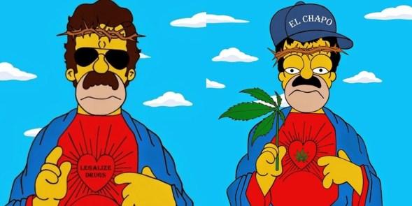 """Artista disfraza a Homero del """"Chapo"""" en favor de legalizar drogas 1"""