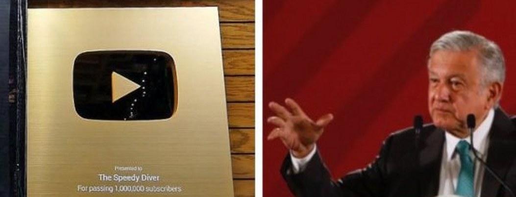 AMLO llega al millón de suscriptores; Youtube le dará el botón de oro
