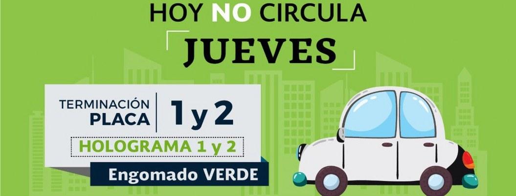 Hoy no circulan autos con engomado verde, y placas 1 y 2