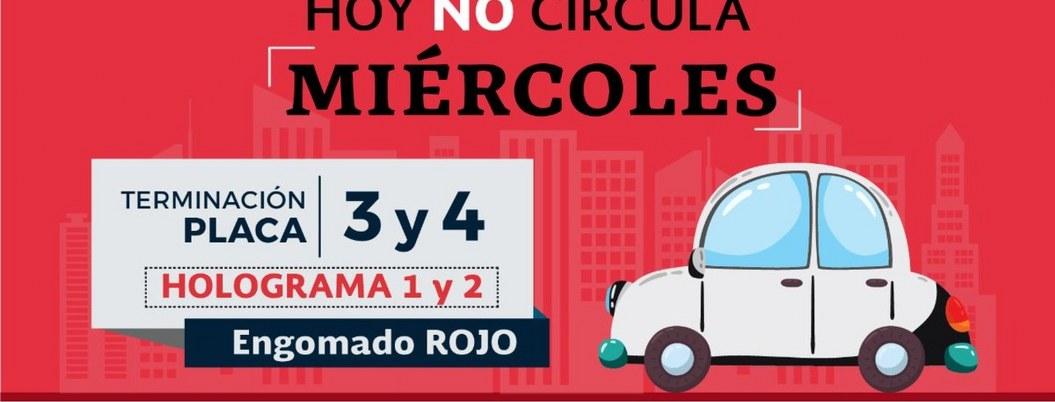 Hoy no circulan vehículos con engomado rojo, y placas 3 y 4