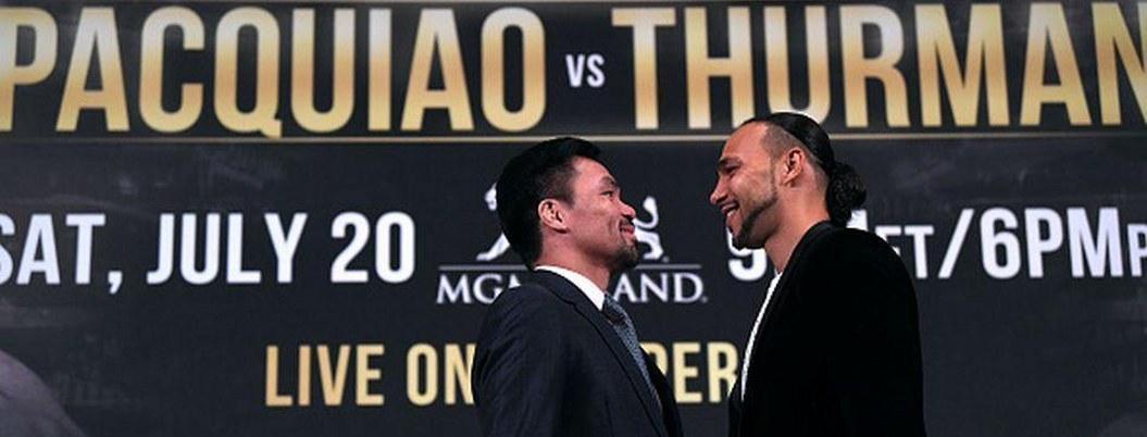 Pacquiao y Thurman llegan a Las Vegas confiados en triunfar