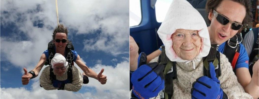 Abuelita de 102 años se avienta de paracaídas por una buena causa