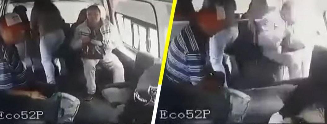 Hombre salta de una combi en movimiento para evitar asalto