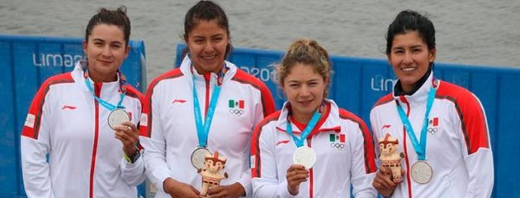México se cuelga plata en K4 femenil de canotaje en Lima 2019
