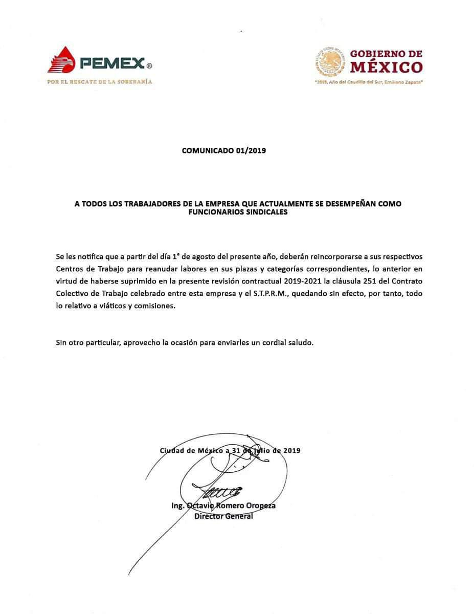 Pemex fin de comisionados sindicales