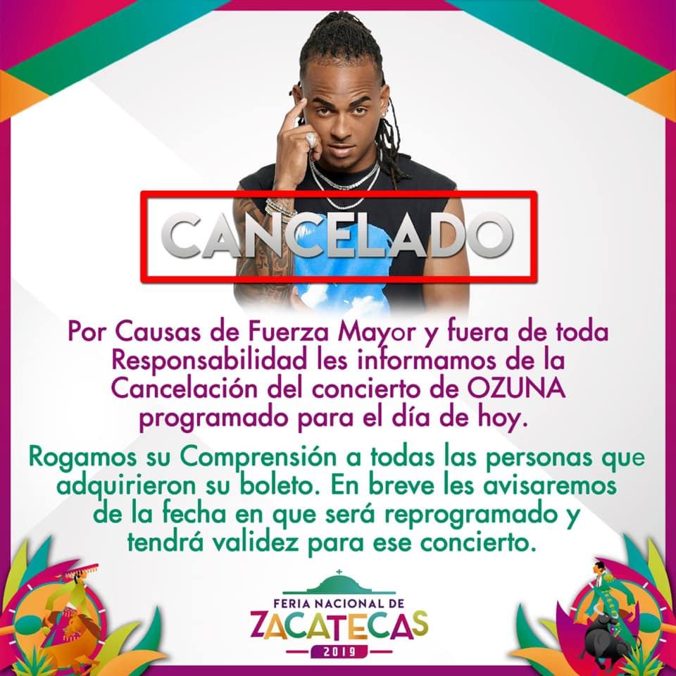 Ozuna cancela participación en Feria de Zacatecas.