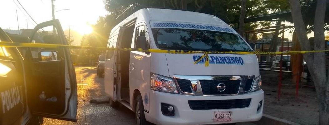 Disparan contra vehículo de transporte público en Chilpancingo