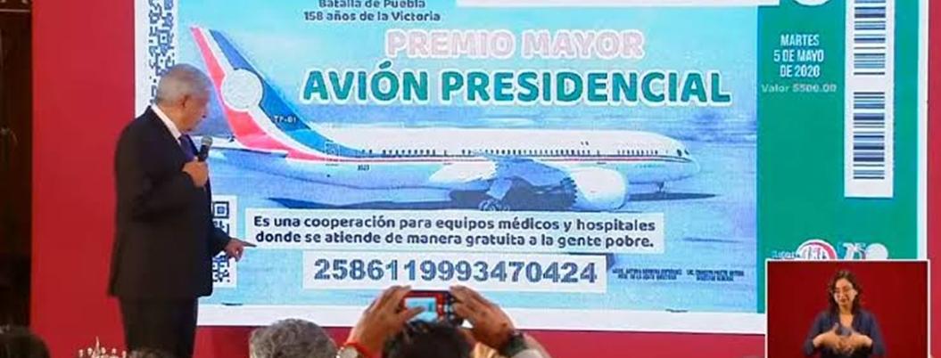 Andrés Manuel avanza en rifa de avión: presenta cachito de lotería