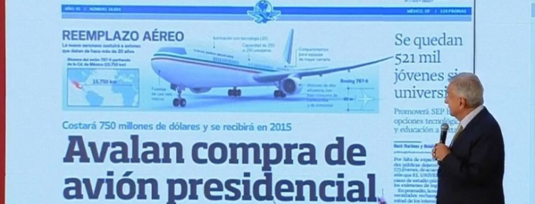 Obrador reprocha a prensa por no criticar compra de avión