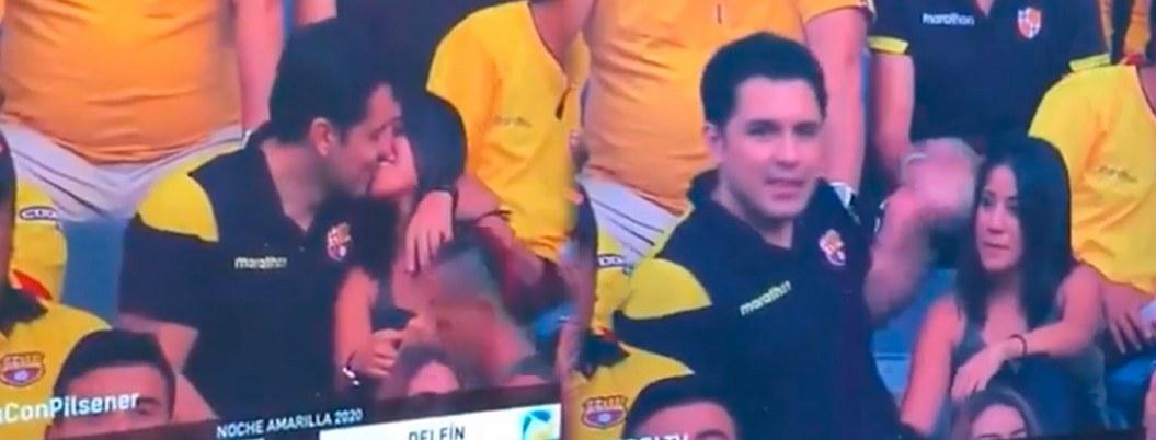 Cámara descubre infidelidad en un partido de futbol  VIDEO