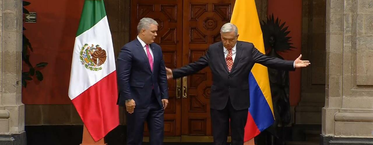 Recibe AMLO a Iván Duque en Palacio Nacional