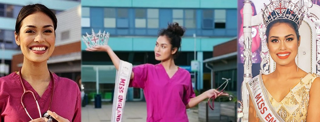 Miss Inglaterra deja corona y retoma la medicina contra el Covid-19