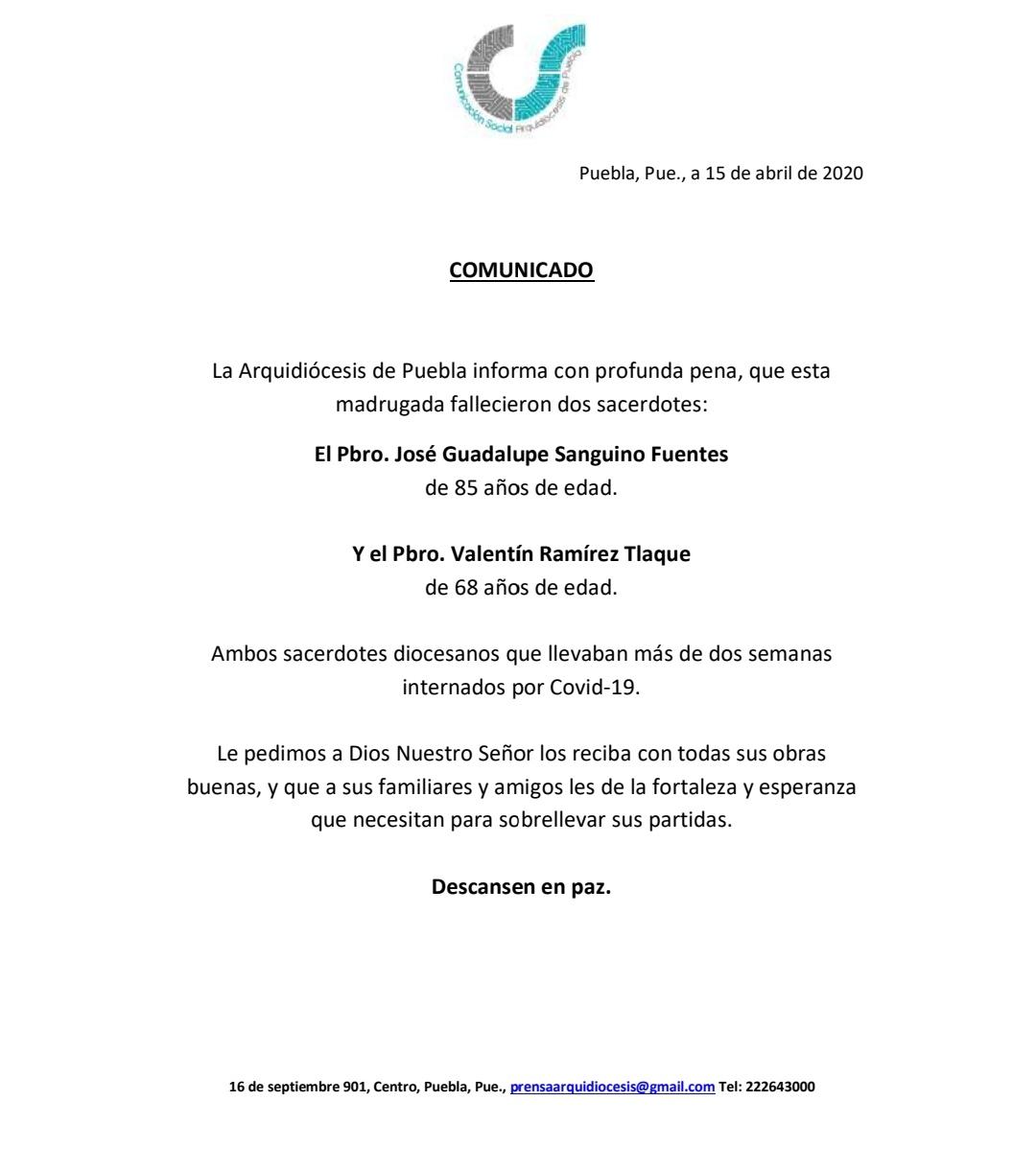 Fallecen por Covid-19 dos sacerdotes de la Arquidiócesis de Puebla 1