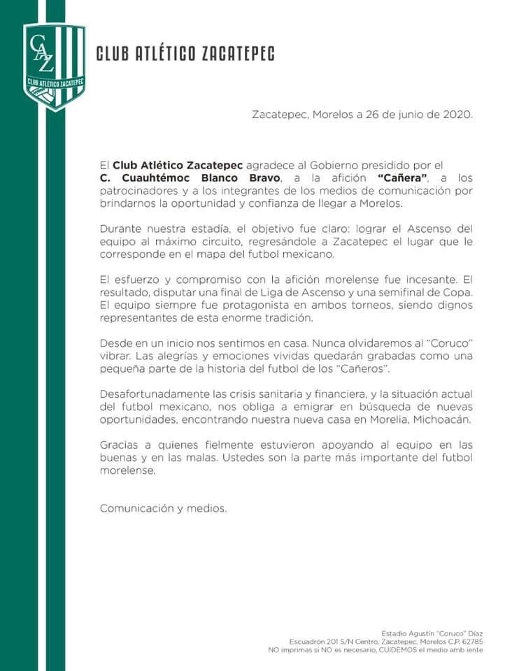 Comunicado Zacatepec