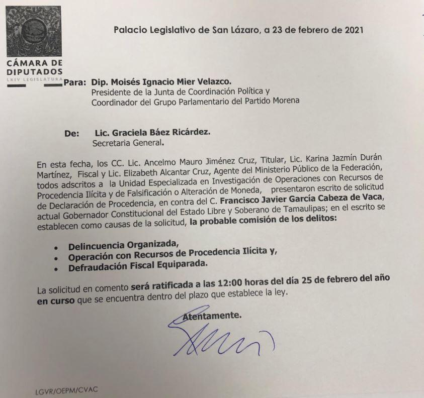 FGR solicita desafuero del gobernador de Tamaulipas, Francisco Cabeza de Vaca 1