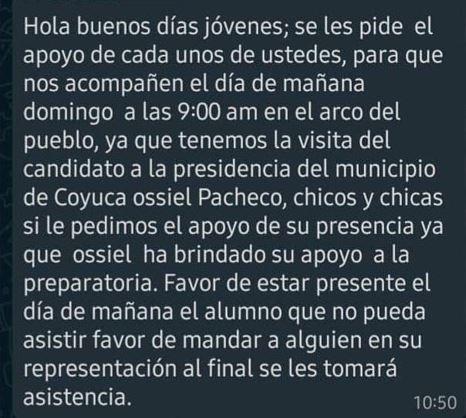 Candidato de Morena en Coyuca usa a escolares en sus mítines 2