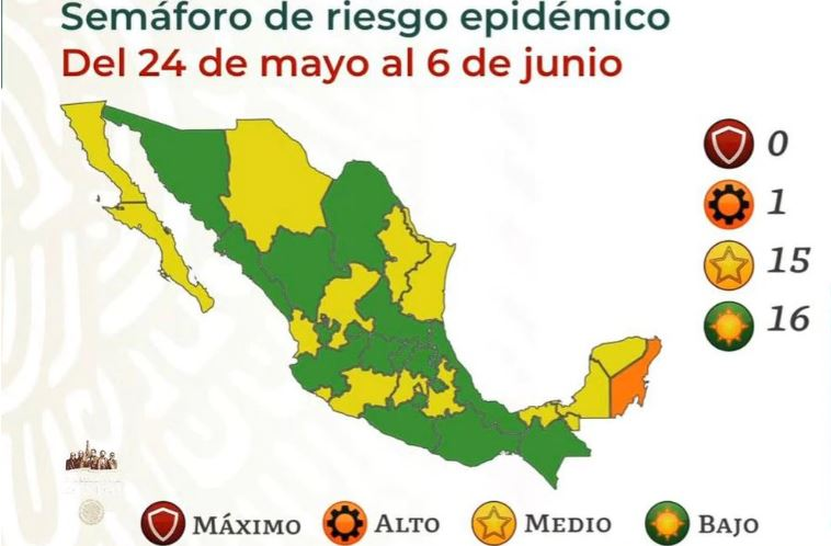 México se pinta de verde y amarillo por Covid; solo Quintana Roo está en naranja 1
