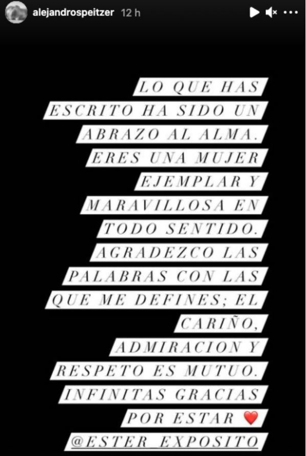 Alejandro Speitzer manda emotivo mensaje a Ester Expósito 1