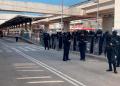 Policías antimotines durante el desalojo de ex trabajadores del Acabús.