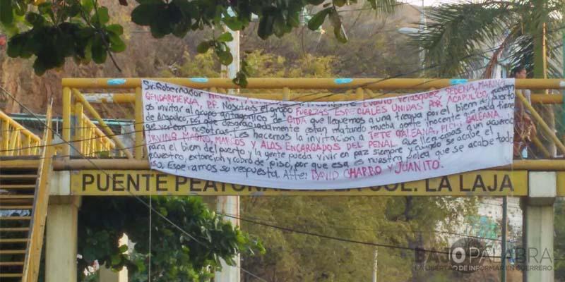 Acapulco: en narcomanta, grupo criminal pide tregua con el CIDA