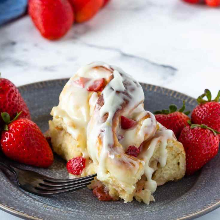 Strawberry lemon sweet rolls with a tangy lemon cream cheese glaze