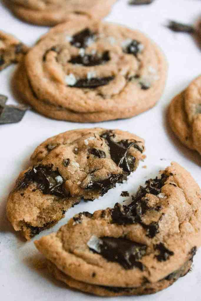 chocolate chunk cookie split in half.
